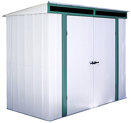 - Arrow Euro-Lite Steel Storage Pent Shed, Green/Eggshell, 8 x 4 ft.