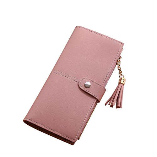 Womail Women Hasp Leather Wallet Card Coin Holder Clutch Handbags (Pink)