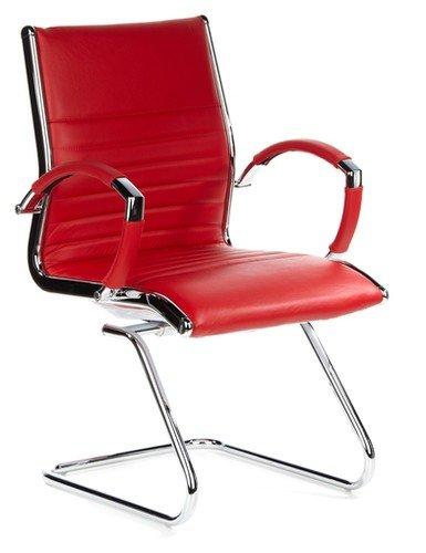 hjh OFFICE 660535 silla de confidente PARMA V cuero rojo, cuero real, alumino cormado, estable, con apoyabrazos, buen acolchado, alta gama, silla ...
