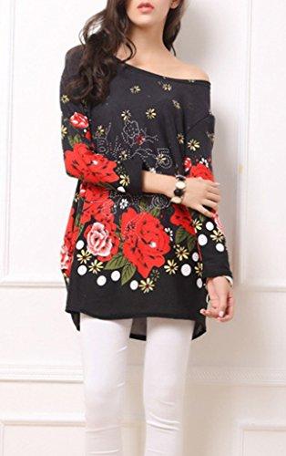 Ru Xiang Printing Shirt Top Long Black Loose Sleeve Women Animal L 6qdRBq