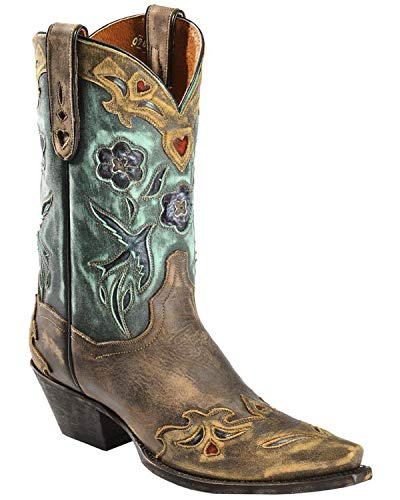 Dan Post Women's Blue Bird Wingtip Cowgirl Boot Snip Toe Copper 7.5 M US (Turquoise Brown Cowgirl Boots And)