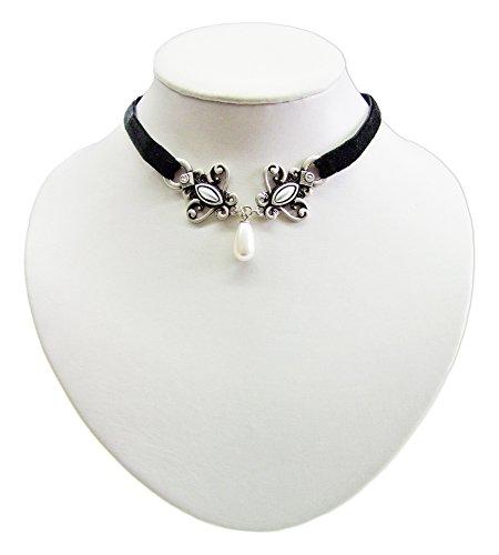 Schwarzes Samt Kropfband mit antikem Ornament und Perle - Schöne Kette zu Dirndl, Trachten, Gothik und Burlesque Kostümen