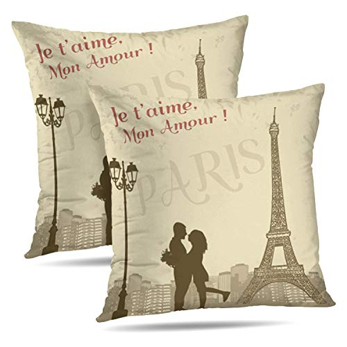 LALILO Set of 2 Throw Pillow CoversRetro Paris Grunge City Scape French Love Silhouette Double-Sided Pattern for Sofa Cushion Cover Couch Decoration Home Bed Pillowcase 18x18 inch