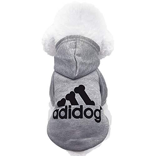 Moolecole Pet Sports Apparel Cat & Dog Cold Weather Coats Dog Hoodies Pet Sweaters (XXL, Grey)