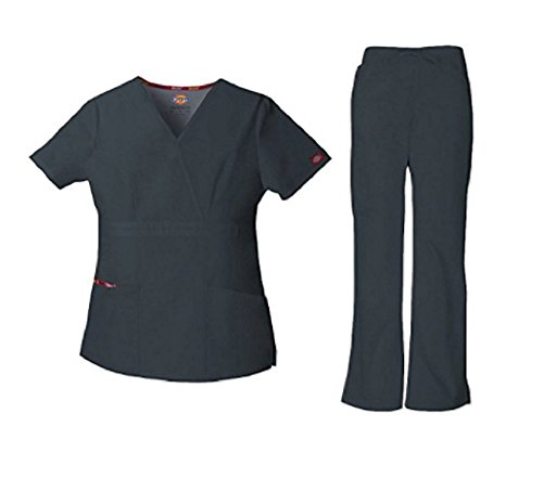 Dickies Everyday Scrubs Signature Women's Mock Wrap Top & Drawstring Pant Scrub Set XX-Large Pewter by Dickies