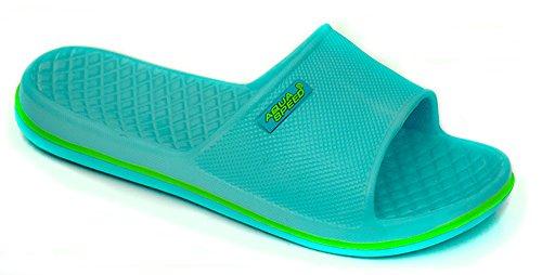 AQUA-SPEED® CORDOBA Beach Slides para Señora (Negro Azul Zapatos de ducha Suela de antideslizante Con Piscina Sea Holiday) + UP®-Etiqueta engomada Farbe 02 / Hellblau - Grün
