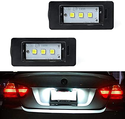 2x For BMW X6 E71 E72 Bright Xenon White 3SMD LED Canbus Number Plate Bulbs