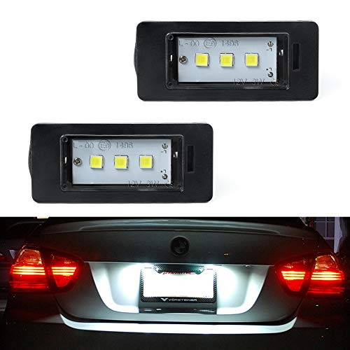 - GemPro 2Pcs LED License Plate Light Lamp Assembly for BMW 1 3 5 Series E82 E88 E90 E91 E92 E93 E39 E60 E61 X1 X3 X5 X6, Powered by 3SMD Xenon White Error Free LED lights