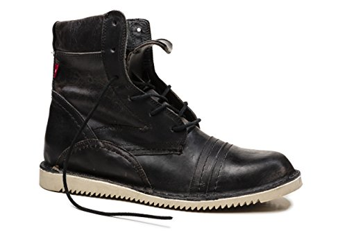 Oliberte Men's Ngola Black Grey Pullup 45/12 Combat Boot by Oliberte