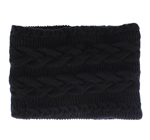samine Cable Knit Circle Scarf with Faux Fur Lining Black (Gold Snood)