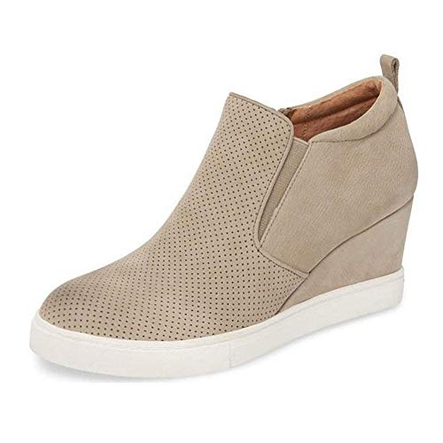 Zipper Women's Heel Boots Booties ORCWORLD Leisure Wedge Shoes Beige Platform Casual SqdnX