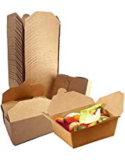 Take Out Boxes Containers Paper Microwavable Cardboard Lunch Box Disposable Kraft Brown to Go Box Disposable for Restaurants Catering Delivery 67.5Oz (25 Pack)