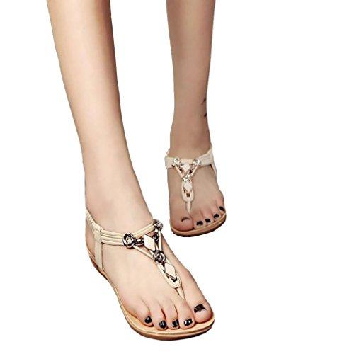 New Womens 4' Heel (Hemlock Women Girl's Bohemia Sandals Peep-Toe Flat Sandals Shoes (US:9.5, Beige))