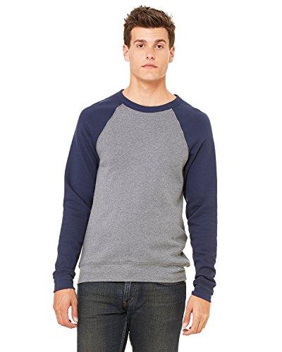 Raglan Crew Sweater (Bella + Canvas Unisex Sponge Fleece Crew Neck Sweatshirt XL Dp Heather/Navy)