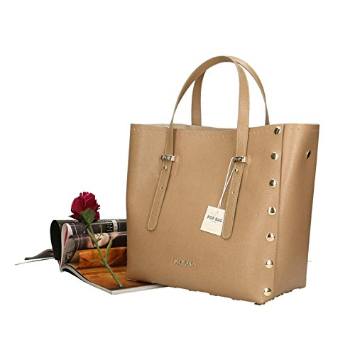femme cuir en in main Cm Boue Saffiano Impression à POP Sac 28x27x13 véritable Made Italy Bags WAnYqYXzI