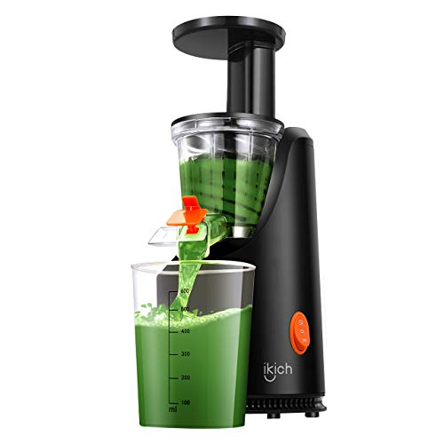 Masticating Juicer IKICH Slow Juicer with 200W Quiet Efficient Motor Compact Design Juicer Machines Easy to Clean with Juice Recipes , Brush , Cold Press Juicer with BPA-Free, FDA Approved