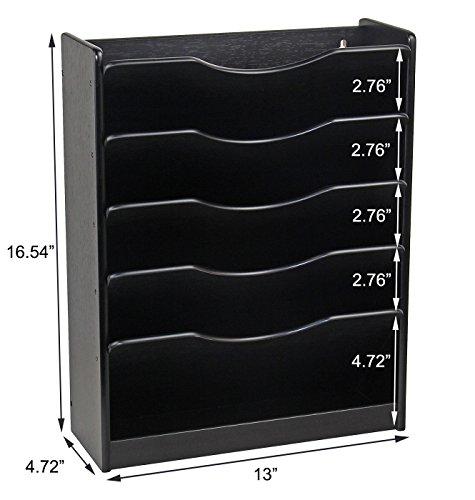 PAG Hanging File Organizer Wall Mount Mail Sorter Magazine Holder Literature Display Rack Wood Desk Organizer, 6 Tier, Black by PAG (Image #4)