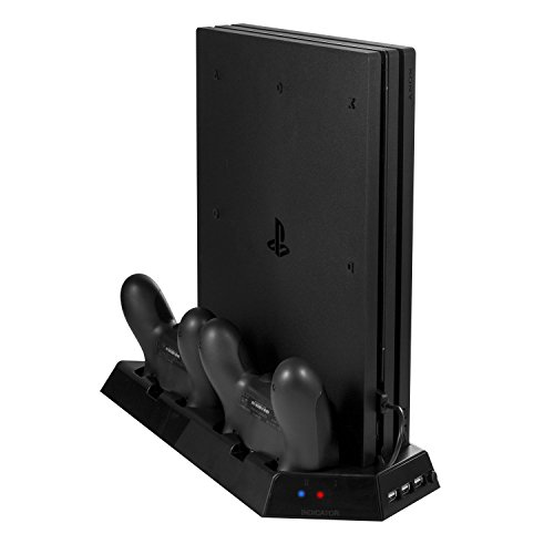 Younik VG-09 PS4 Pro Vertical Stand Cooling Fan with Dualshock Controller Charging Station 3 Port USB Hub for PlayStation 4 - 09 Material