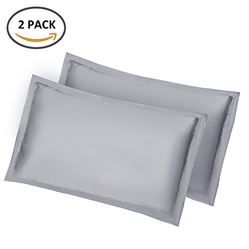 Bennyue Satin Silk Pillowcases Skin Hair Facial Beauty Luxury Queen Standard Queen Size Hypoallergenic Pillow Cover Anti Wrinkle Soft Microfiber Cushion Protector Solid Color 2PCS (Grey)