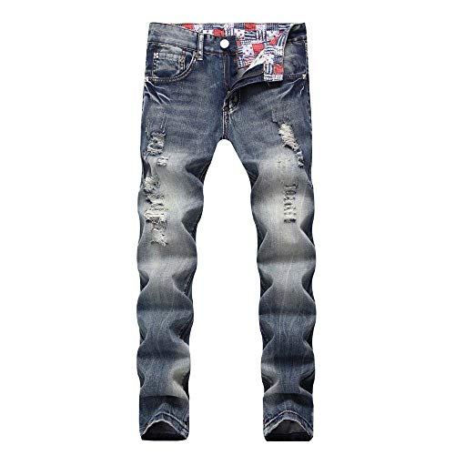 Trou Jean Cebbay Denim Coton Mode Cargo Bleu Homme Slim Pantalon SUMzVpq