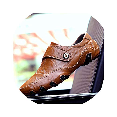 Handmade Genuine Leather Men Shoes Luxury Italian Casual Mens Loafers Breathable Slip on Moccasins,Brown,12.5