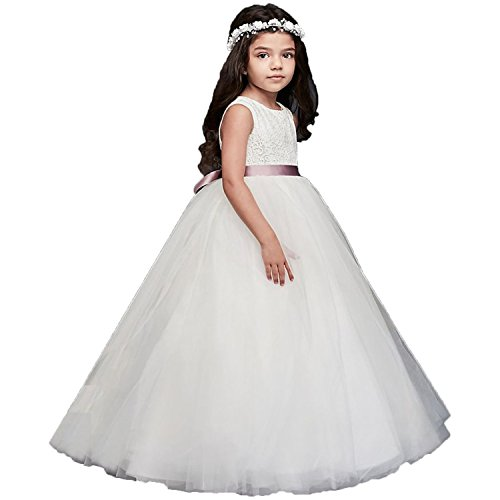 Edooli Ivory Fancy Lace Flower Girl Dress with Heart Cutout On Back 12 Years Old ()