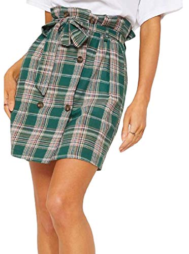 Lutratocro Women's a line Belted Double-Breasted Trendy Checkered Skirt Green Large ()