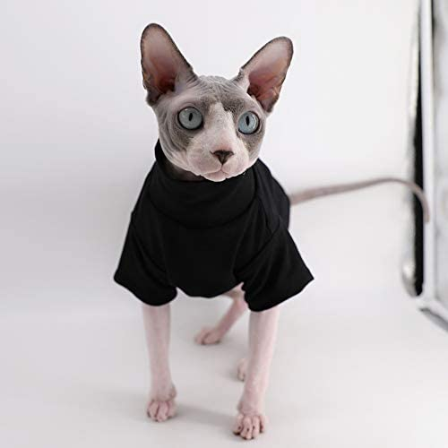 Sphynx Cat Clothes Winter Thick Cotton T-Shirts Double-Layer Pet Clothes, Pullover Kitten Shirts with Sleeves, Hairless Cat Pajamas Apparel for Cats & Small Dogs 15