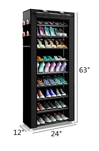 PENGKE Large Shoe Rack Shoe Storage Organizer Cabinet Tower with Dustproof Cover Closet Shoe Cabinet Tower,10 Tiers Black