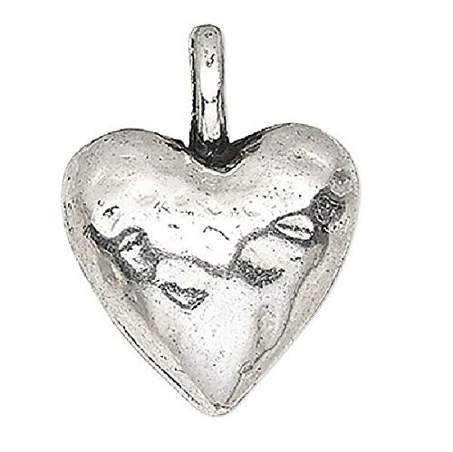 4 Antiqued Silver Plated Pewter 12x12mm 3D Puffed Heart Charms (Heart 12mm Charm Puffed)
