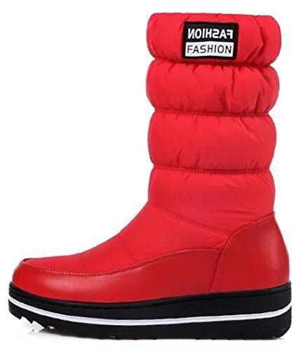 Plataforma De Moda Para Mujer De Idifu Con Forro De Piel Sintética Forrada Con Botas De Nieve De Media Pantorrilla Con Tacones Rojos