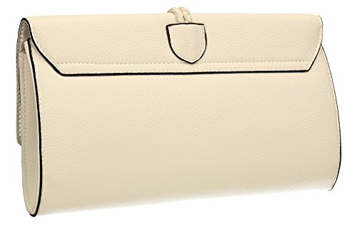 Party Womens Clutch Sophia Ladies White PU Leather SWANKYSWANS Prom Bag Flapover xCwtB7qtI