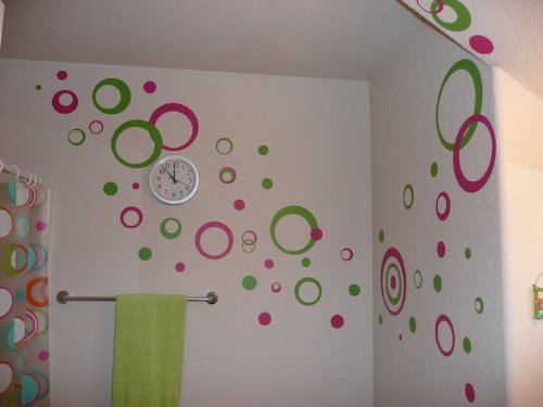 - Hot Pink & Lime Green Wall Circle Bubble Stickers Rings & Dots Decals 50+pc 11