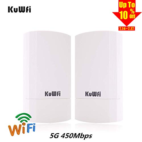 (KuWFi 2-Pack 450Mbps Wireless outdoor CPE Kit,Indoor&Outdoor Point-to-Point wireless Bridge/CPE Supports 2KM transmission distance solution for PTP, PTMP (Pre-program WDS)Wireless Access Point/Bridge )