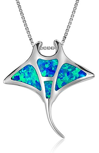 """Sterling Silver Synthetic Blue Opal Manta Ray Necklace Pendant With 18"""" Box Chain"""