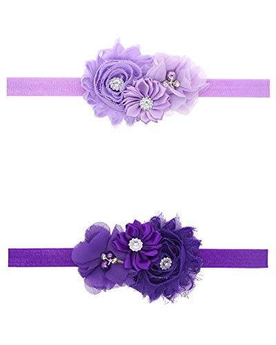 Ld Dress Lovely Baby Girl Headbands Rhinestone Flower Princess (28) (Zh6), 13 INCHES (Lavender Hair Band)