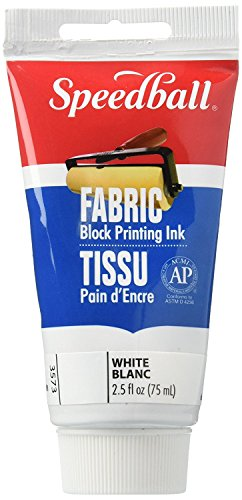 Speedball 003573 Fabric Block Printing Ink - Premium Fabric Block Printing Ink 2.5 FL OZ (75CC), White