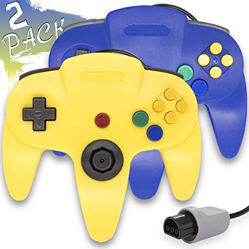 Wired Controller for Nintendo 64 N64 Console, Upgraded Joystick Classic Video Game Gamepad(Yellow and Blue,Pack of 2)