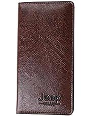 محفظة جلد بني بها أماكن متعددة لحفظ الكروت والأموال والموبايل من جيب بولو