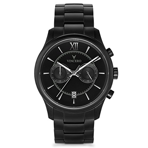 Vincero Luxury Men's Bellwether Wrist Watch - Black dial with Matte Black Stainless Steel Watch Band - 43mm Chronograph Watch - Japanese Quartz Movement
