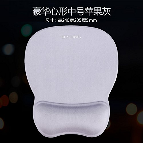 Memory Shaped Rubber Bands (Computer Game Mouse pad Wristband Solid Color Stereo Wrist pad, Heart-Shaped Apple Gray - Lycra Memory Cotton)