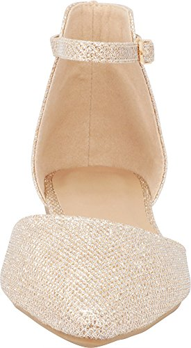 Champagne Cambridge Toe D'Orsay Pointed Flat Women's Closed Ballet Select Strap Buckled Ankle rXqIrwP