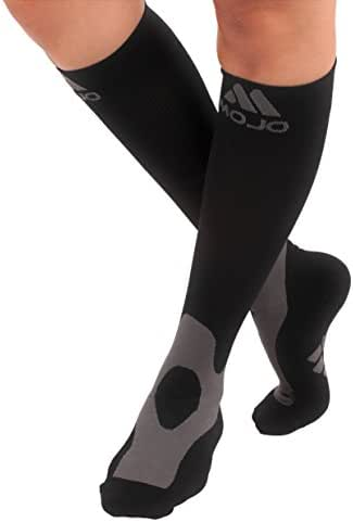 Mojo Sport Compression Socks for Men & Women 20-30mmHg Medical Recovery Graduated Support Stockings for Varicose Veins & Edema Black Large