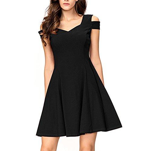 InsNova Women's Off Shoulder Little Black Dress Sweetheart Cocktail Party M
