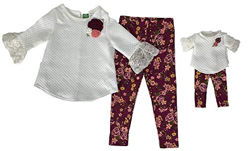 Dollie & Me Girls Ivory Quilted Floral Size Sweater Top Leggings (Ivory, 8)