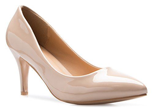 OLIVIA K Women's Classic D'Orsay Closed Toe Mid Stiletto Heel Pump | Dress, Work, Party Low Heeled Pumps | high Casual Comfortable Sale (Best Pumps For Work)