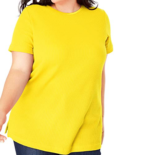 (Woman Within Women's Plus Size Satin-Trimmed Crewneck Thermal Tee - Bright Daffodil, 1X)