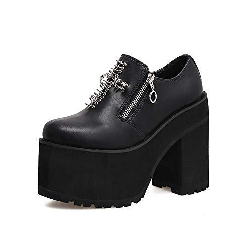 Occasionnels Bottes Super Cheville Ronde Chaussures Rivets Black 35EU Femmes Hauts Talons DANDANJIE Noir Tête wZnSvgnq