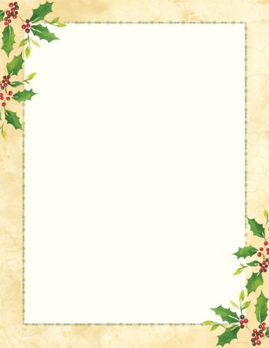 Holiday Stationary - Falling Holly Holiday Letterhead