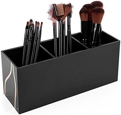 Vencer Makeup Brush Holder Organizer 3 Slot Cosmetics Brushes Storage Solution,Black,VMO-011